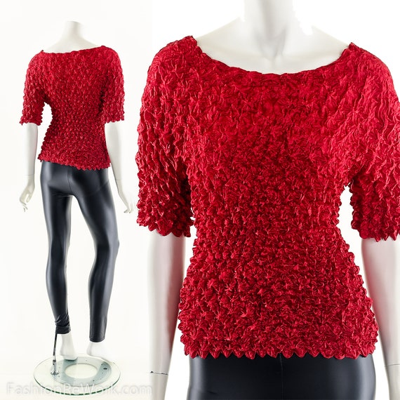 Red Popcorn Blouse,90s Vintage Blouse,Micropleat … - image 2