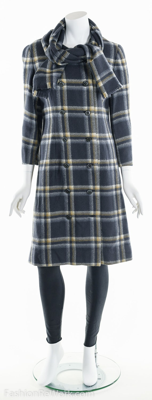 Plaid Wool Coat, Double Breasted Coat, 60's Coat,… - image 10
