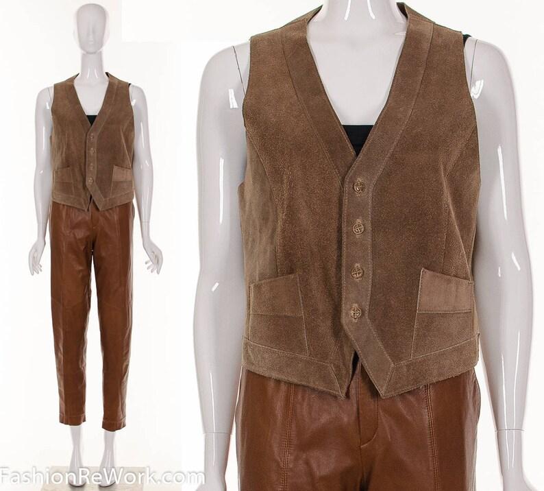 1c22fe299795ab Vintage 70er Jahre braun Wildleder Weste Vintage Leder Weste