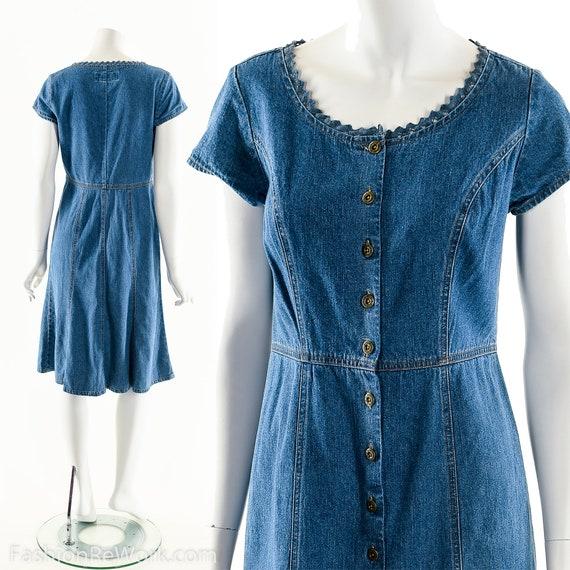 Denim Baby Doll Dress,Vintage 90s Denim Dress,Prin