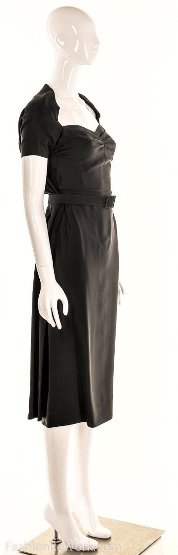 Vintage 40s Black Pencil Dress,40s Va Va Voom Dre… - image 2