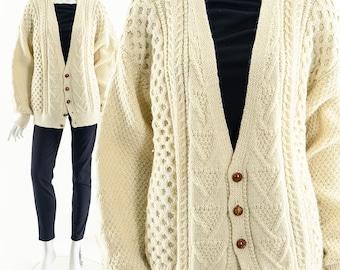 Irish Fisherman Sweater, Vintage Irish Sweater, Cable Knit Cardigan, Vintage Cardigan, Hand Knit Sweater, Vintage Jumper, Boyfriend Sweater