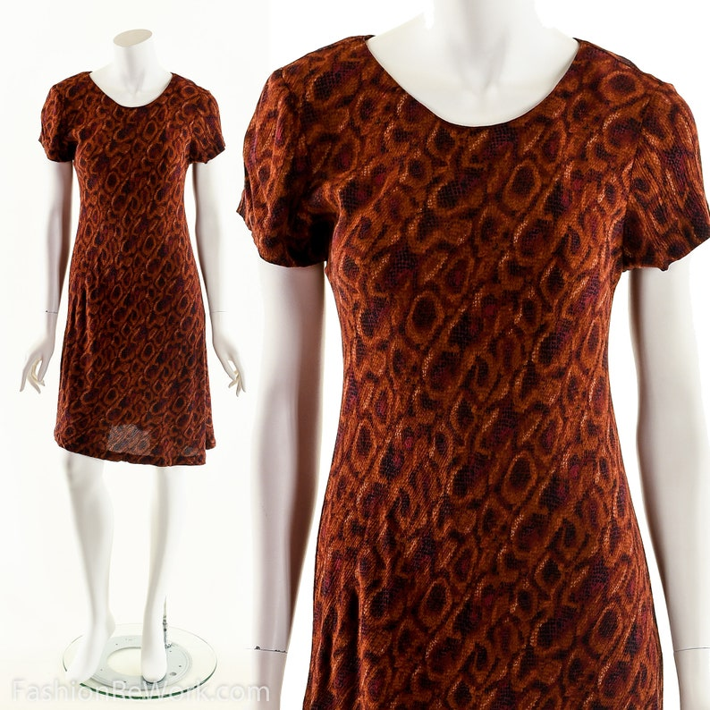 Rust Snakeskin DressGraphic Reptile Print Dress90s Rayon image 0