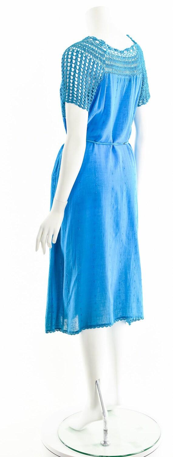 Blue India Gauze Dress,Turquoise India Cotton Dre… - image 8