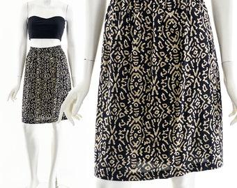 90s Rayon Skirt,Abstract Crinkle Gauze Skirt,High Waist Skirt,Soft Breathable Skirt,Comfy Vintage Skirt,Tribal Southwest Skirt,Cave ARt