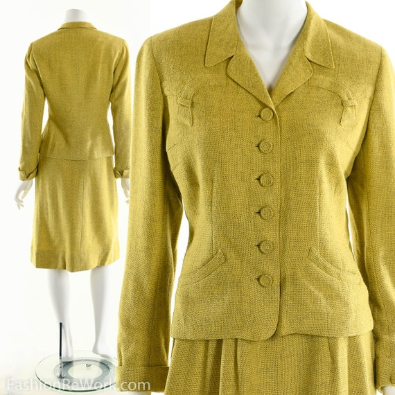 40's suit,vintage 1940's suit, yellow suit, skirt