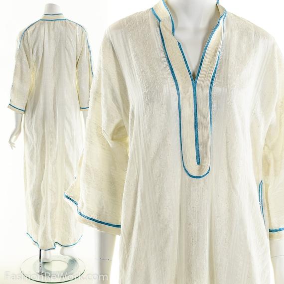 Vintage Kaftan Dress, White Caftan Dress, White Dr