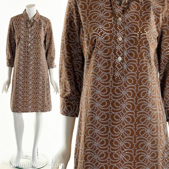 Brown Eyelet Dress, 90's Shirt Dress, Button Down