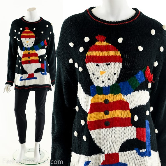 Ugly Christmas Sweater,Snowman Iceskating Sweater,