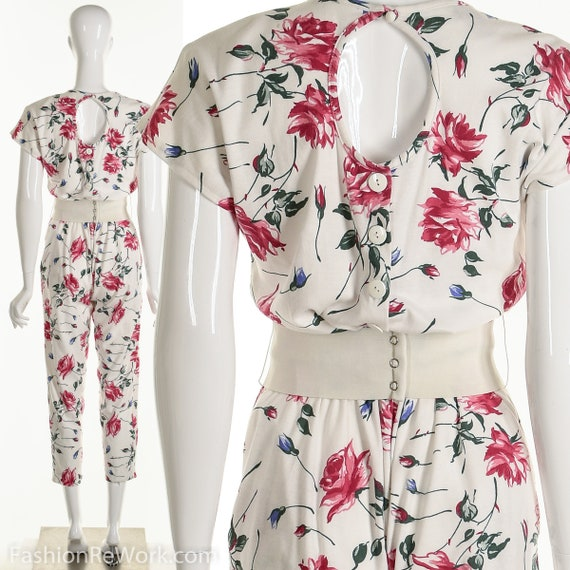 Floral Jumpsuit, Cutout Back Jumpsuit, Flower Romp