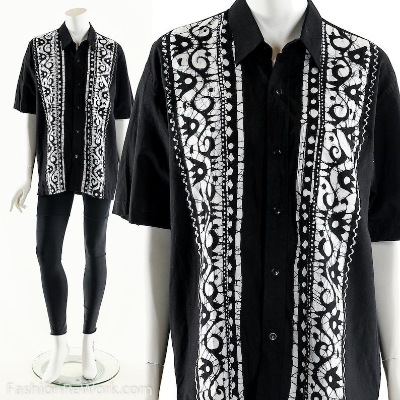Batik Bowler Shirt 90s Indonesian Tie Dye ShirtBowler image 0