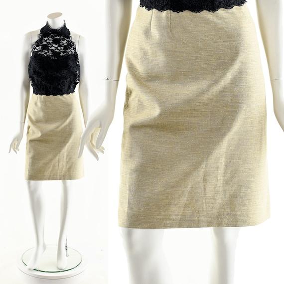 Beige Linen Skirt,Tan Gold Skirt,Metallic Gold Pen