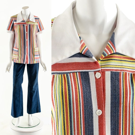Rainbow Stripe Blouse,Fruity Stripe Tunic,Multicol
