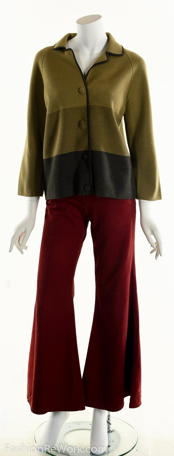 50's Italian Wool Sweater, Striped Wool Cardigan,… - image 2