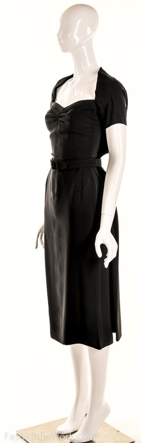 Vintage 40s Black Pencil Dress,40s Va Va Voom Dre… - image 8