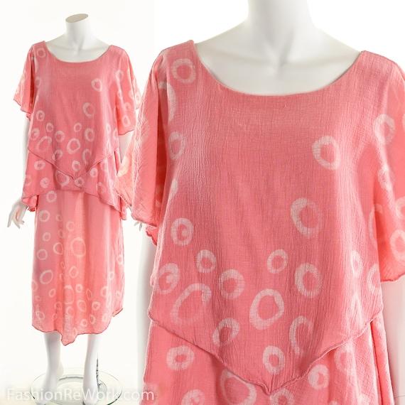 Gauze Dress, Bubble Pink Gauze Dress, Tiered Ruffl