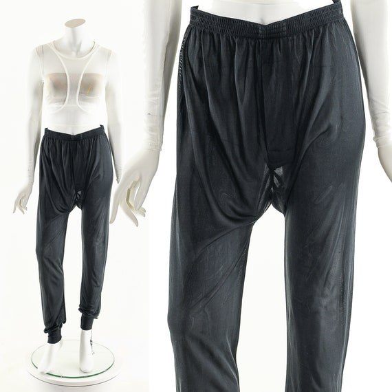 Sheer Silk Joggers,Black Silk Pants,Vintage 90s Si