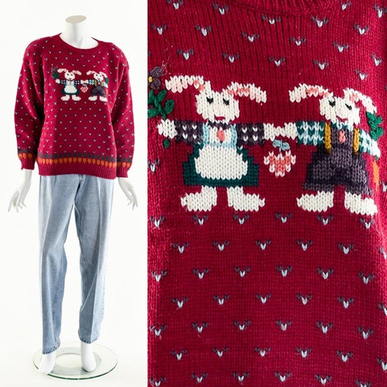 Vintage Easter SweaterWool Bunny SweaterBunny Wool image 0