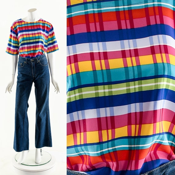 RAINBOW MADRAS Blouse,Vintage Multicolored Plaid T
