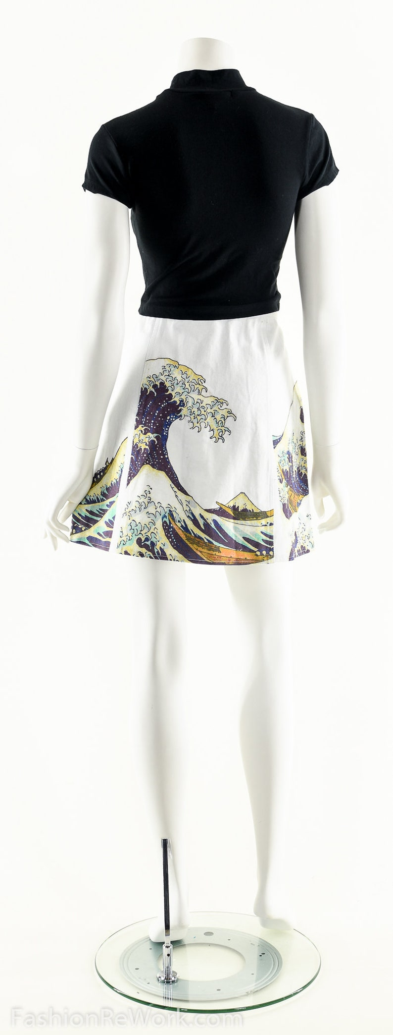 The Great Wave Skirt,90s Snap Front Skater Mini Skirt,90s Club Kid Skirt,Art Print Skirt,The Great Wave Off Kanagawa,Hokusai,Japanese Wave