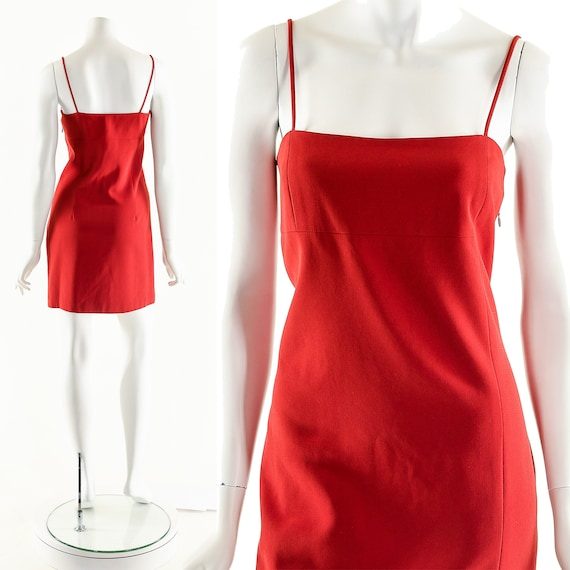 90s Red Dress,Y2K 90s Strappy Dress,Red Hot Dress,