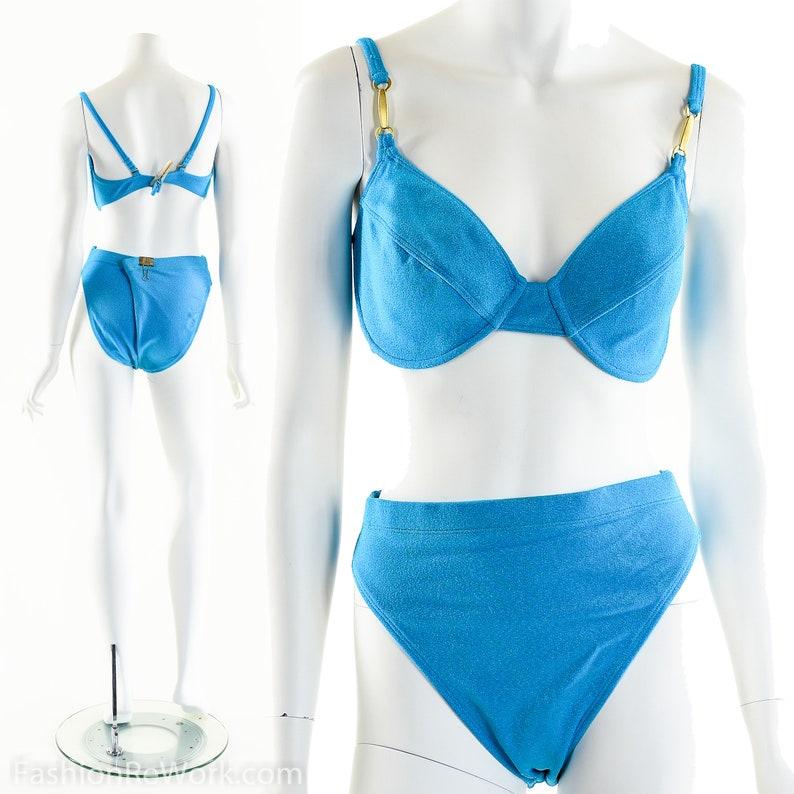 Neon Blue BikiniVintage 80s BikiniHigh Cut Bikini90s Teal image 0