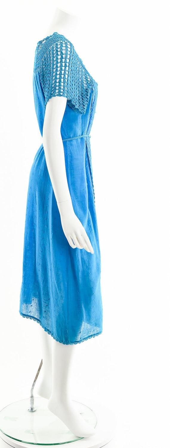 Blue India Gauze Dress,Turquoise India Cotton Dre… - image 5