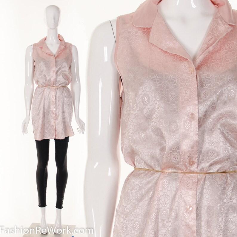 0f038a508c7f2 90s MINIMALIST Sleeveless Shirt Dress Button Down Shirt Dress