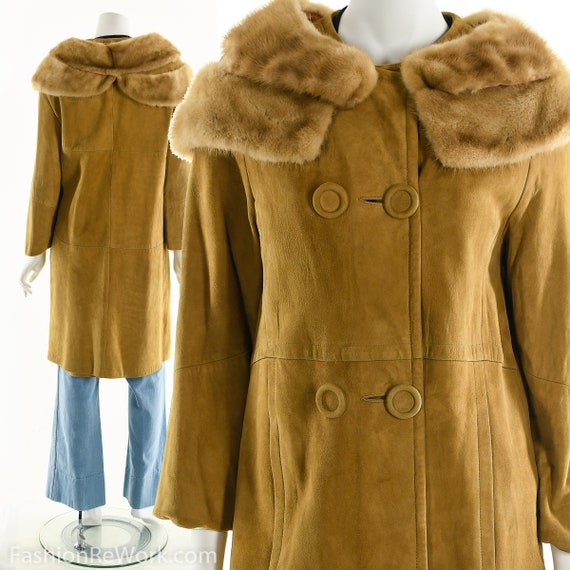 60's Leather and Fur Jacket, Vintage 60's Suede Le