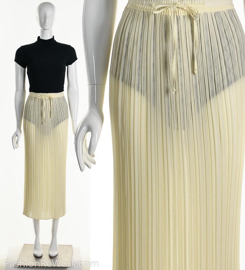 Crinkle Maxi SkirtVintage Pale Yellow Skirt80s Gauze Skirt image 0