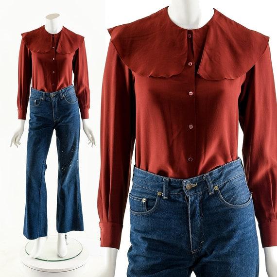 Vintage Red Silky Top  Vintage Red Blouse  Vintage Red Collared Button Down  Vintage Red Silk  Vintage Big Sleeves Vintage Puffy Sleeves