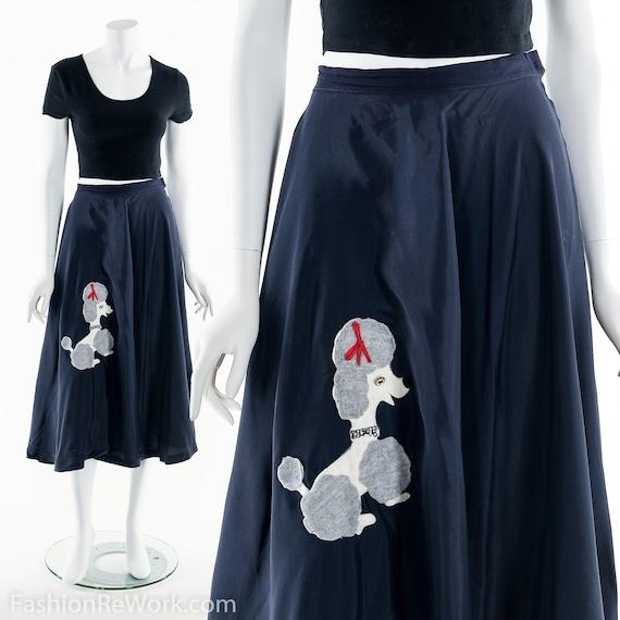 50s Sock Hop Skirt,Blue Poodle Skirt,Vintage 50s C