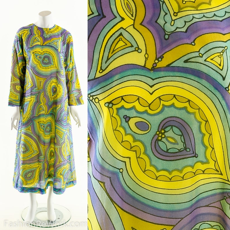 PSYCHEDELIC Groovy KaftanHand Painted CaftanRainbow Bright image 0