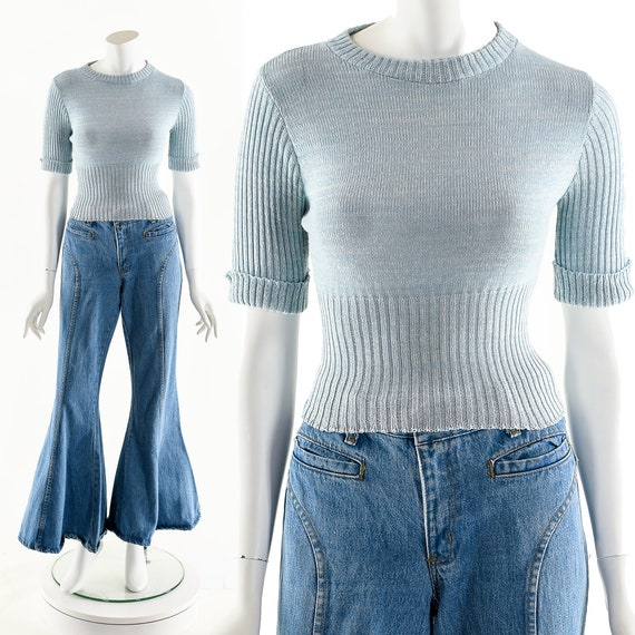 Baby Blue Cropped Sweater,Vintage 50's Thin Knit S
