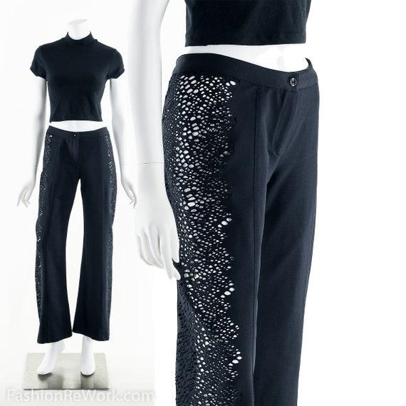 Cutout Black Pants, Low Rise Black Pants, 90's Bla