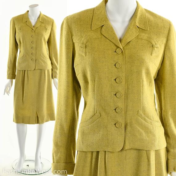 40's suit,vintage 1940's suit, yellow suit, skirt… - image 2
