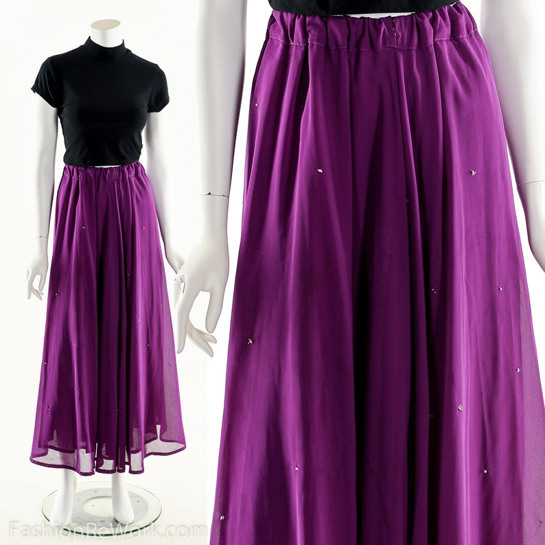 Purple Chiffon Skirt High Waist Skirt Purple Maxiskirt image 0