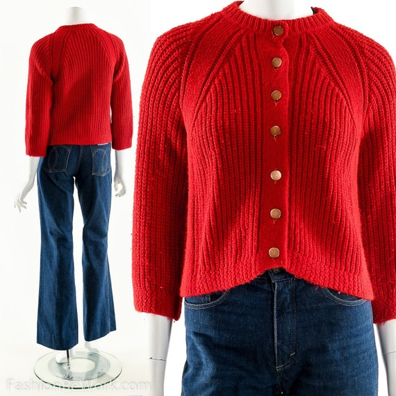 Red Cardigan Sweater, Chunky Knit Sweater, Hand Kn