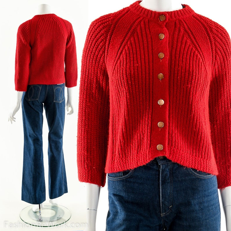 Red Cardigan Sweater Chunky Knit Sweater Hand Knit Sweater image 0