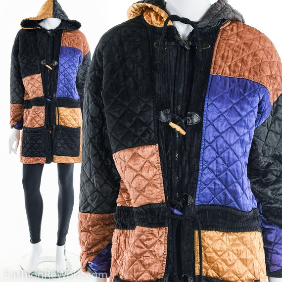 Quilted Jacket, Quilted Hoodie Jacket, Colorblock… - image 3