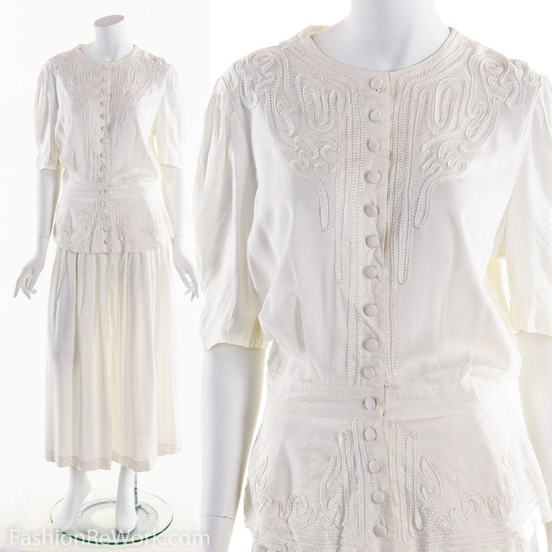 bdc74f753a33 White Dress Tea Dress Garden Party Dress Victorian Inspired   Etsy
