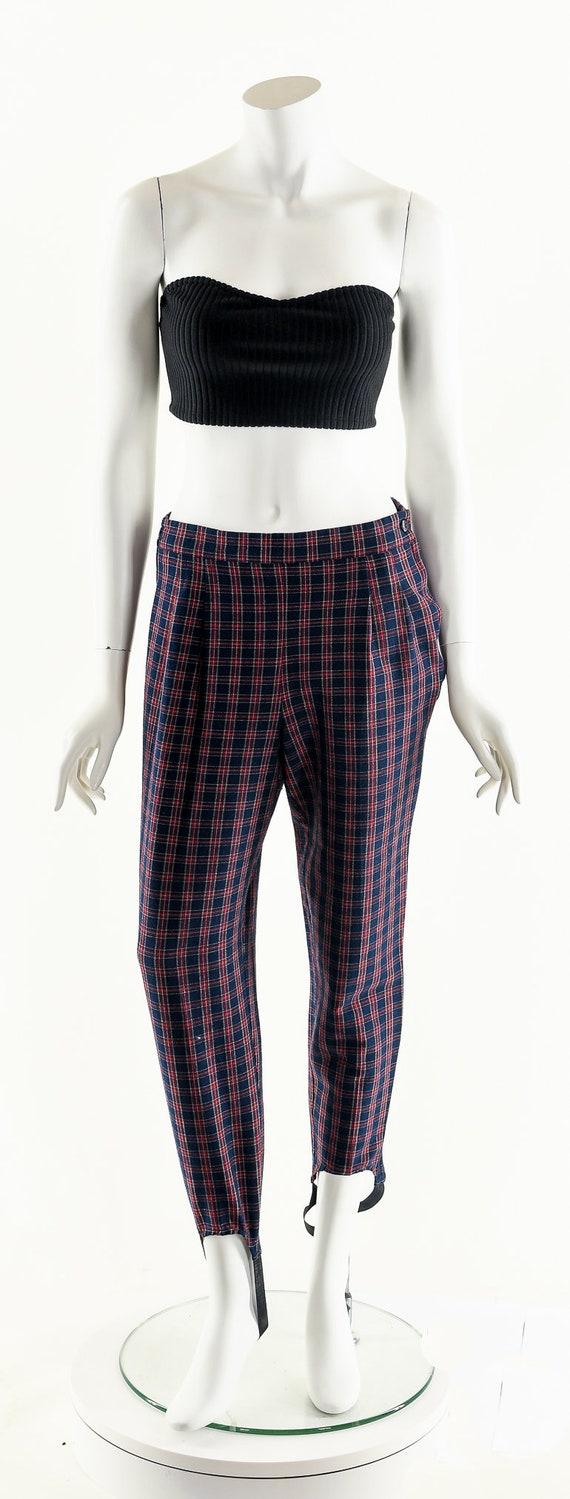 Plaid High Waist Pants,Vintage 80's Pants,Preppy … - image 4