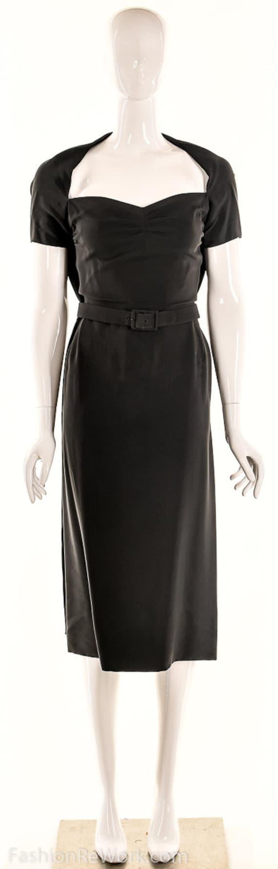 Vintage 40s Black Pencil Dress,40s Va Va Voom Dre… - image 9