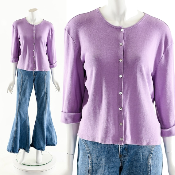 Purple Sweater Cardigan,Light Purple Cardigan,Lila