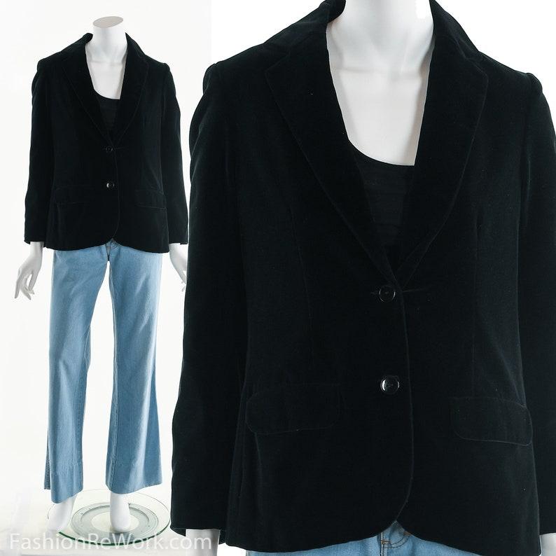 Black Velvet JacketVelvet Suit JacketVintage Black image 0