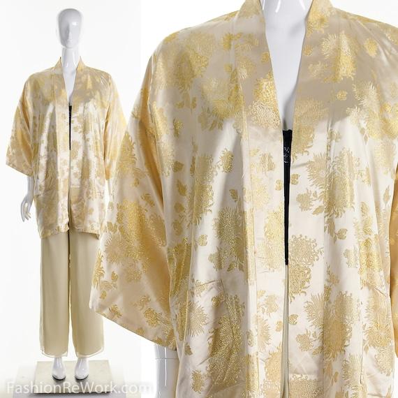 Vintage Kimono, Gold Brocade Kimono, Silk Kimono,