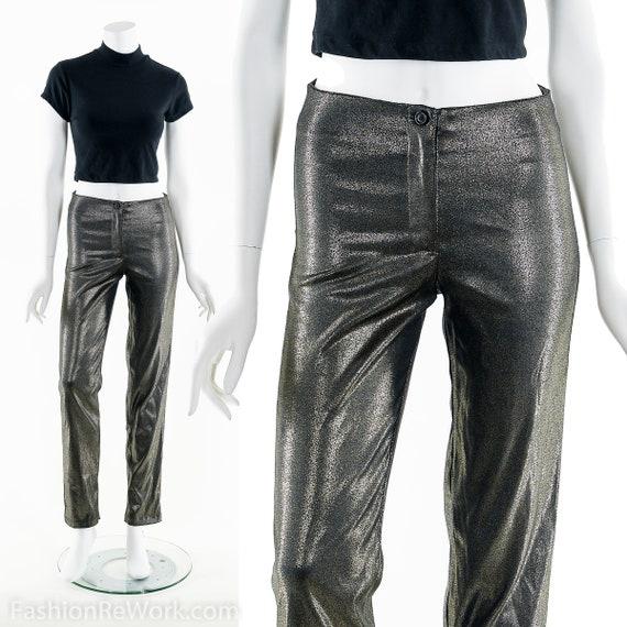 Bronze Metallic Pants, 90's Golden Bronze Pants, S