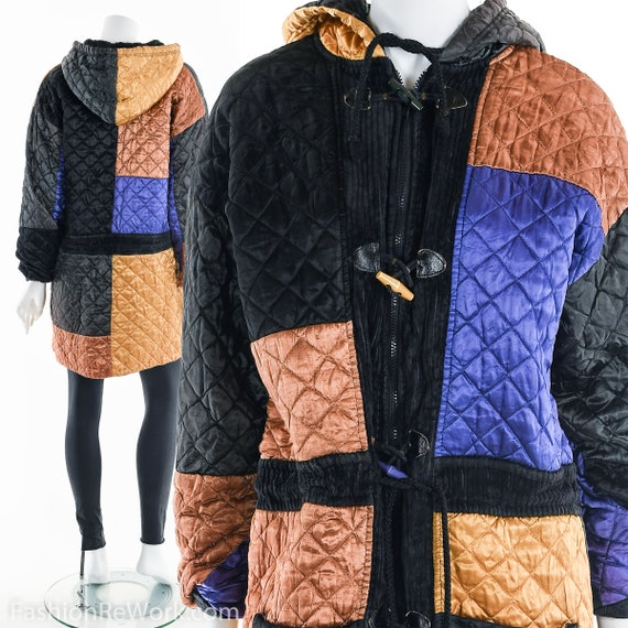 Quilted Jacket, Quilted Hoodie Jacket, Colorblock… - image 1