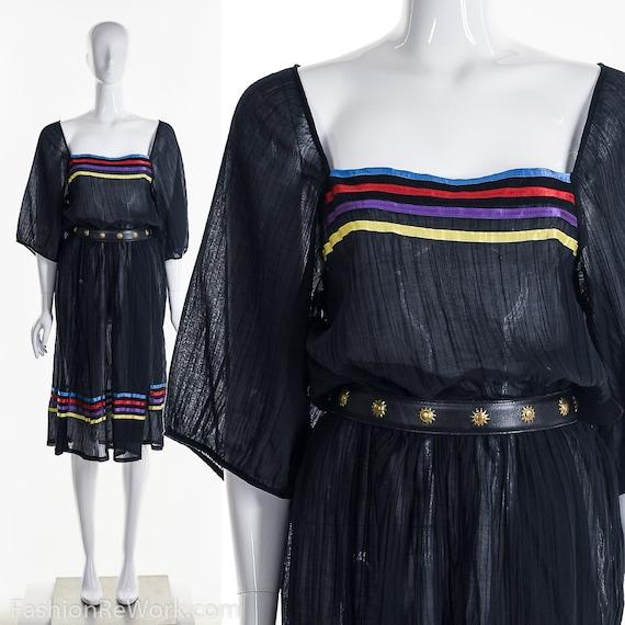 Rainbow Gauze Dress,Sheer Black Dress,Peasant Boho