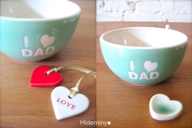 I Love Dad Angel Light Turquoise Green Bowl with love and red heart tag One of a kind Gift for Dad green heart cutlery rest.